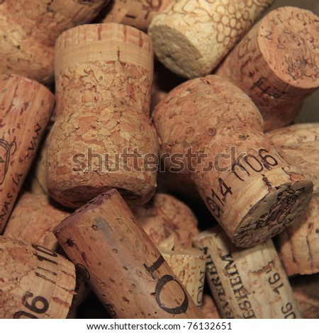 A square pictures of a pile of used cork