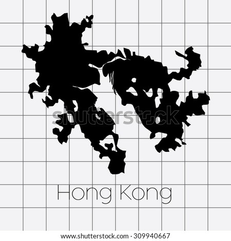 A Squared Background with the country shape of Hong Kong
