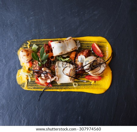 a squid gourmet plate in plan  - stock photo