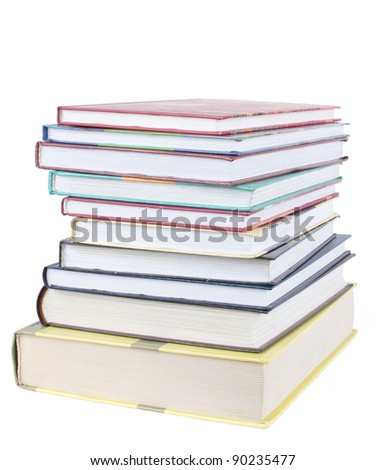 A stack books isolated on white - stock photo
