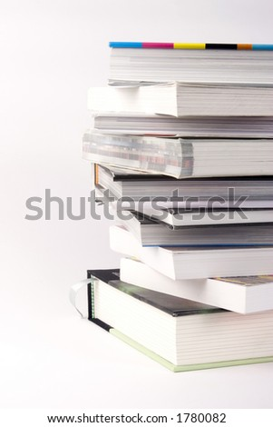A Stack of Books against a white background.