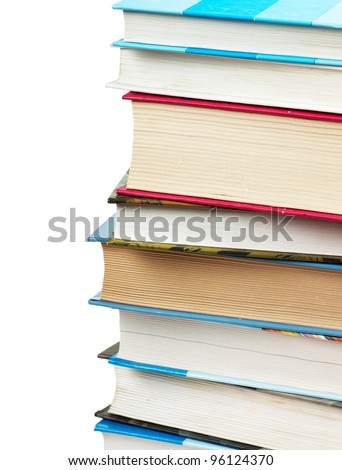 A stack of books. Closeup view.
