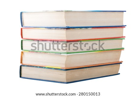 A stack of books in color covers isolated on white background.