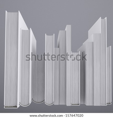 A stack of books. Isolated render on a gray background