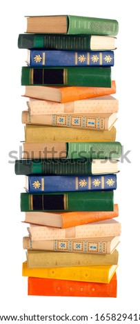 A stack of books. isolation - stock photo