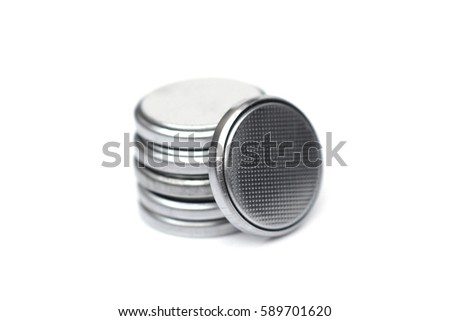 A stack of  button cell lithium battery isolated