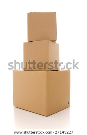 a stack of cardboard box parcels (isolated on white) - stock photo