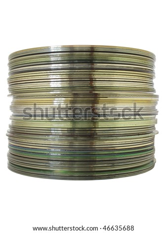 A stack of CDs isolated on a white background - stock photo