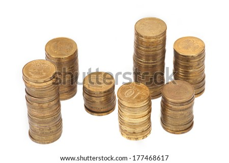 a stack of coins on a white background