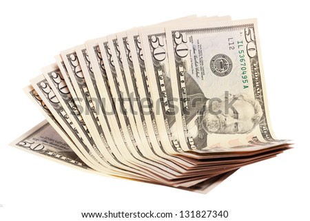 A stack of fifty 50 dollar bills fanned out on a white background