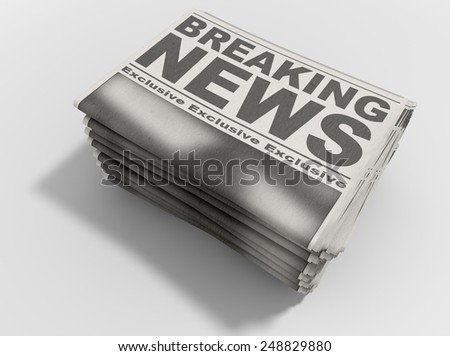 A stack of folded stacked newspapers hot off the press with a generic headline that reads breaking news on the front page on an isolated white background - stock photo