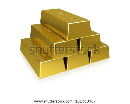 A stack of gold bars on a white background.