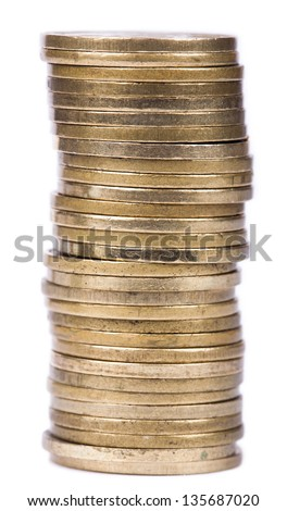 A stack of golden coins isolated on white background. - stock photo