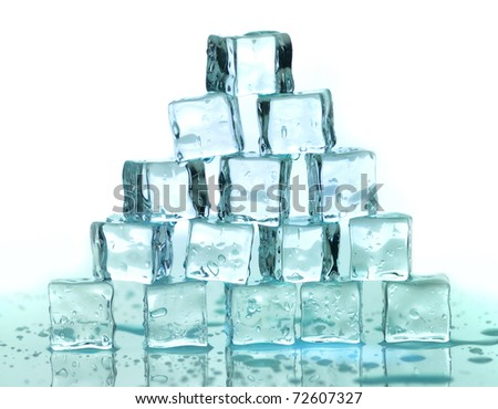 a stack of ice cubes on a white background - stock photo