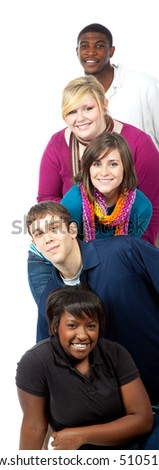 A stack of multi-racial college students/friends on a white background