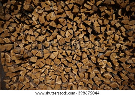 a stack of nature firewood wood  fire - stock photo