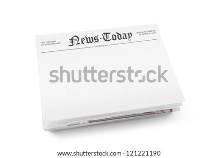 "A stack of newspapers with headline ""News Today"" and blank space for information. Isolated on white. - stock photo"
