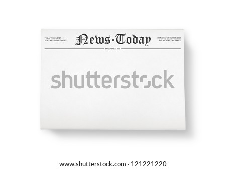 """A stack of newspapers with headline """"News Today"""" and blank space for information. Top view shot. Isolated on white. - stock photo"""