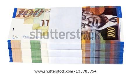 A stack of 100 NIS (New Israeli Shekel) money notes, isolated on white background. - stock photo