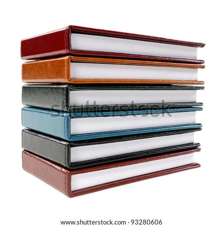 A stack of note books isolated on white