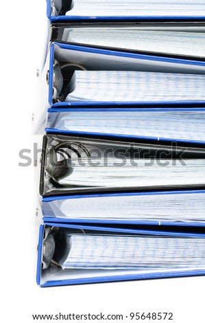 A stack of notebooks. Photos on white background - stock photo