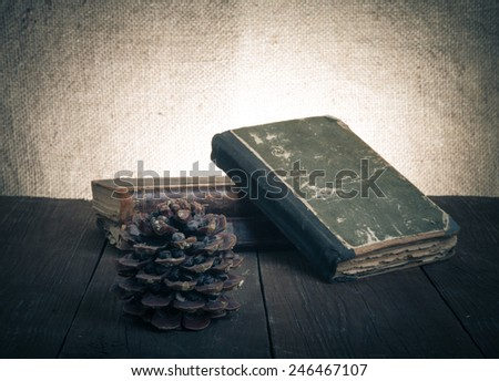 A stack of old books and pine cone on old wooden table against the background of burlap. Toned.