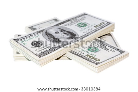 A stack of one hundred dollar bills
