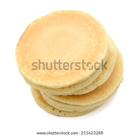 a stack of pancakes isolated on white - stock photo