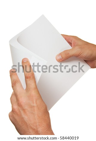 a stack of paper in hand isolated on white background