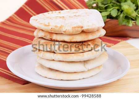 A stack of pita bread.