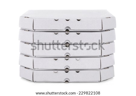 A stack of pizza boxes, isolated on white  - stock photo