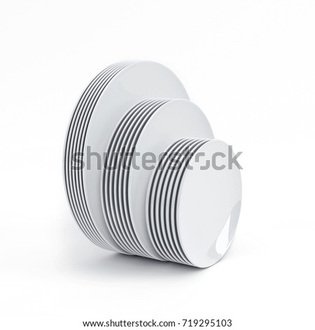 A stack of  plates on white background. Three different sizes. 3D rendering