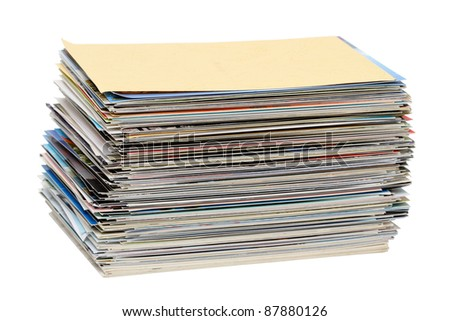 A stack of postcards isolated on a white background
