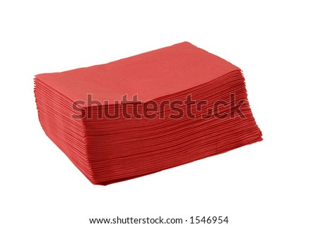 A stack of red paper napkins for a patriotic theme picnic
