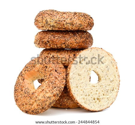 A stack of sesame bagel with cream cheese  - stock photo