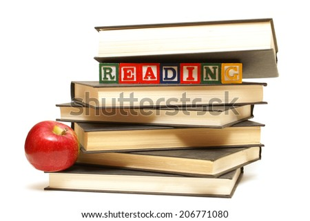 A stack of six school books ready for reading. - stock photo