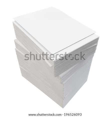 A stack of white paper. Isolated render on a white background
