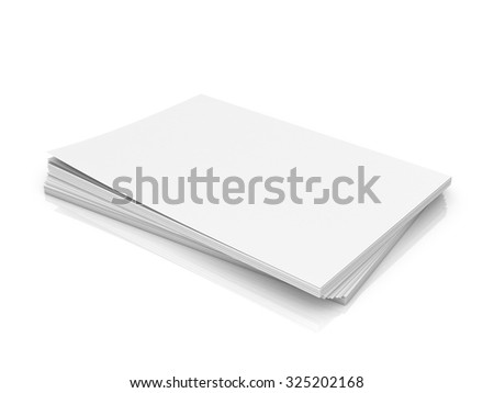 A stack of white paper on a white background.