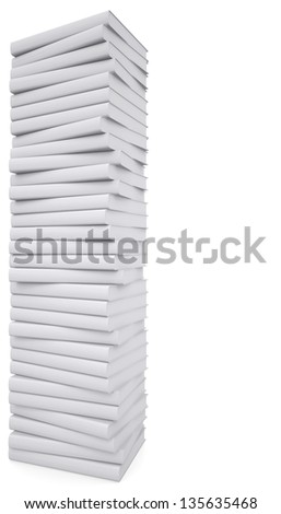 A stack of white papers. Isolated render on a white background