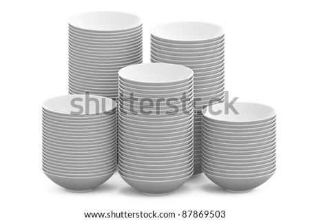 a stack of white sphere bowls on white background, Isolated 3d model
