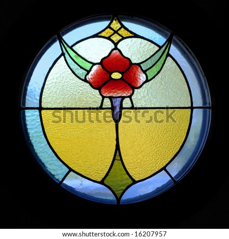 A stained glass flower pattern - stock photo