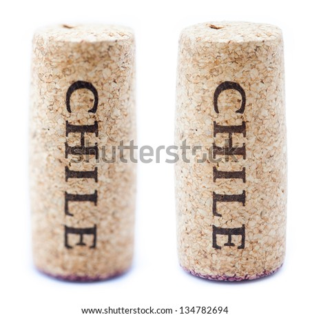 A stained wine cork with 'Chile' written on it, isolated on white background, in vertical position with the writing pointing downwards. Two types of depth of field - shallow and deep. - stock photo