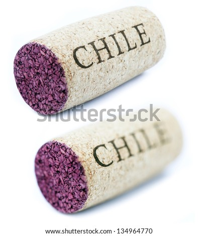 A stained wine cork with 'Chile' written on it, isolated on white background, shot at its horizontal position shot diagonally to the camera. Two types of depth of field - shallow and deep. - stock photo