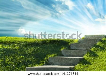 a stair to the sky in St Petersburg Petergof park - stock photo