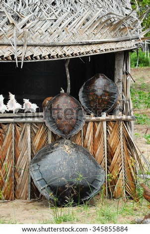 A stall selling turtle shells in Mozambique - stock photo