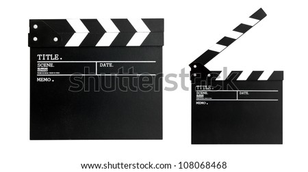 A standard movie clapperboard. isolated on white background. - stock photo