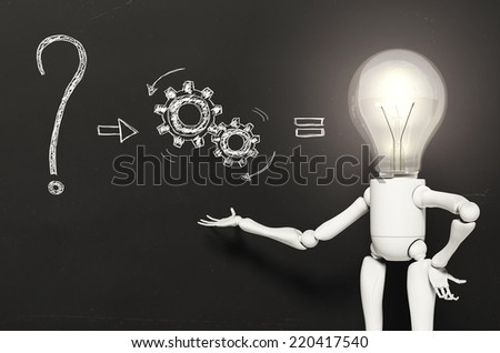 a standing lamp character with his bulb light switched on is showing a kind of answer to a question written on a blackboard behind of him - stock photo