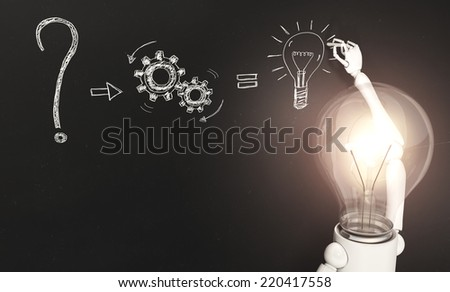 a standing lamp character with his bulb light switched on is writing a kind of solution to a question on a blackboard in front of him - stock photo