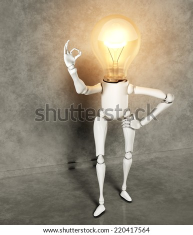 a standing lamp character with the bulb light switched on shows the ok sign with his right hand, on a floor and a wall of gray abstract - stock photo