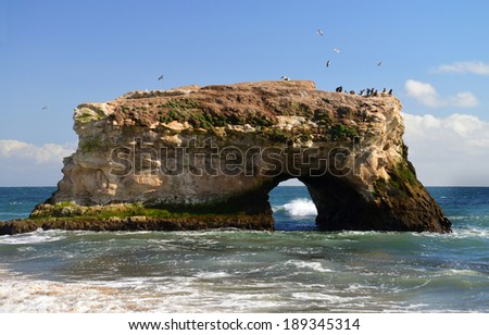 A standing natural bridge in natural bridges national park in Santa Cruz. The bridge stands adjacent to a popular and much visited beach.